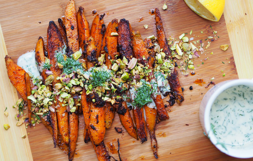 Paprika barbecued carrots with a dill and buttermilk dressing