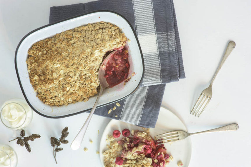 Raspberry and apple crumble bake