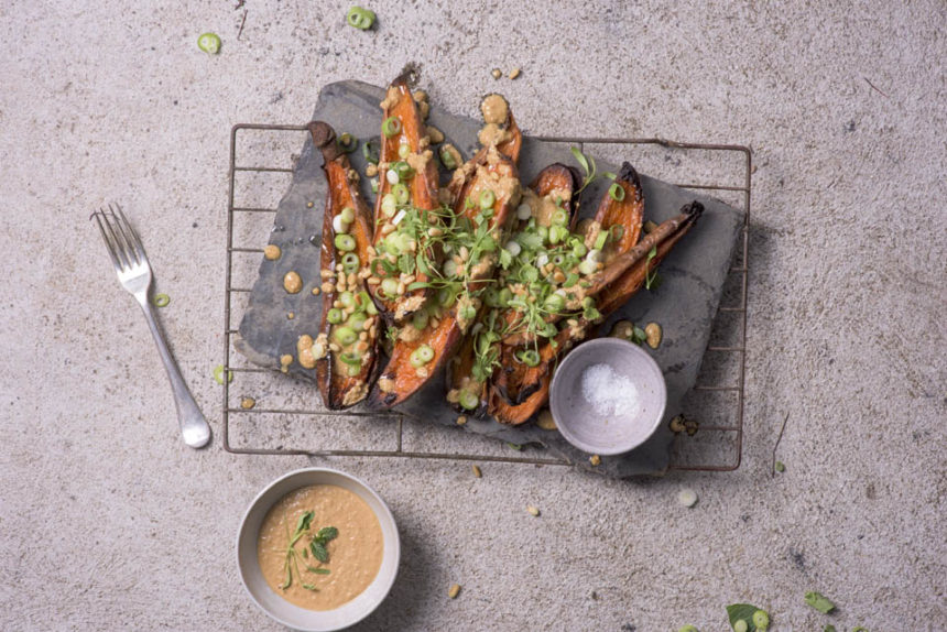 Roasted sweet potato skins with creamy cashew dressing