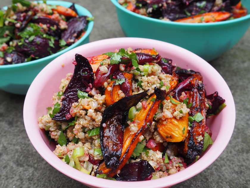 Super grain salad with duck fat roasted vegetables