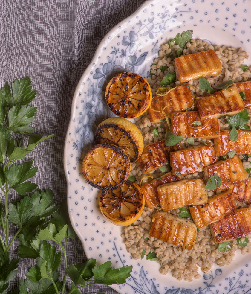 Pan fried haloumi with honey and pearl barley
